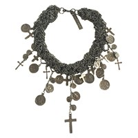 Goldbarr Montreal Cross And Coin Necklace Silver