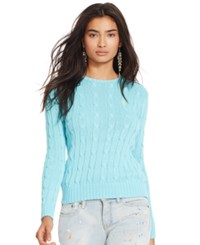 Polo Ralph Lauren Cable Knit Crewneck Sweater Perfect Turquoise