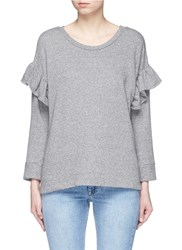 Current Elliott 'The Ruffle' French Terry Sweatshirt Grey