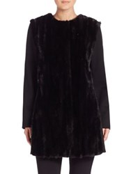 Cinzia Rocca Mink Fur And Wool Coat Black