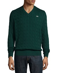 Lacoste Cable Knit Cotton V Neck Sweater Green