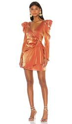 Elliatt Golden Dress In Orange. Rust