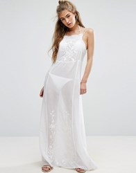 Asos Maxi Cami Beach Sun Dress With Floral Embroidery White