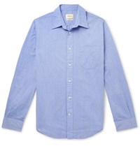 Bellerose Slim Fit Cotton Seersucker Shirt Blue