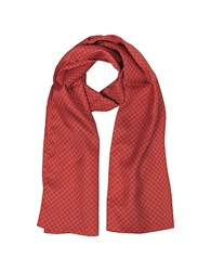 Forzieri Small Flowers Print Twill Silk Men's Scarf Red