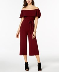 Almost Famous Juniors' Off The Shoulder Cropped Jumpsuit Wine