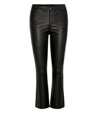 J Brand Selena Mid Rise Cropped Leather Trousers Black