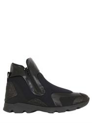 Maison Martin Margiela Neoprene And Leather High Top Sneakers