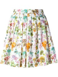 Olympia Le Tan Pleated Mushroom Print Skirt White