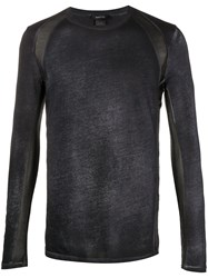 Avant Toi Sheer Panel Long Sleeve T Shirt Black