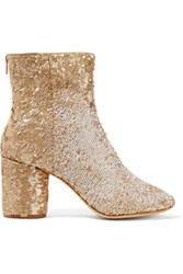 Maison Martin Margiela Sequined Leather Ankle Boots Gold
