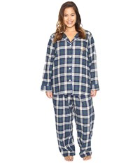 Lauren Ralph Lauren Plus Size Folded Brushed Twill Pj Plaid Cream Blue Green Women's Pajama Sets