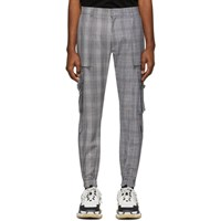 Juun.J Black And White Wool Check Cargo Pants