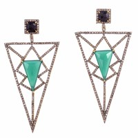 Meghna Jewels Pyramid Earrings Green Chalcedony And Diamonds