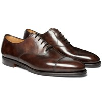 John Lobb City Ii Burnished Leather Oxford Shoes Brown
