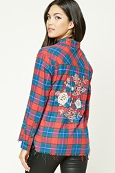 Forever 21 Rose Embroidered Plaid Shirt Red Blue
