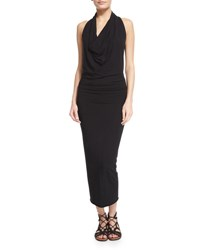 Urban Zen Sleeveless Jersey Cowl Neck Midi Dress Black