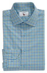 Lorenzo Uomo Big And Tall Trim Fit Check Dress Shirt Blue Green