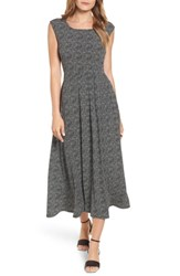Chaus Dot Side Ruched Maxi Dress Rich Black