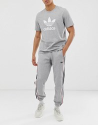 Adidas Originals Sweatpants With Outline 3 Stripes In Gray