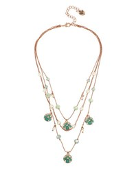 Betsey Johnson Faceted Stone Disc And Mixed Bead Illusion Necklace Green
