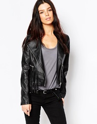 Brave Soul Pu Biker Jacket With Fringing Black