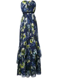 Erdem Long Floral Sleeveless Dress Women Silk 12 Blue