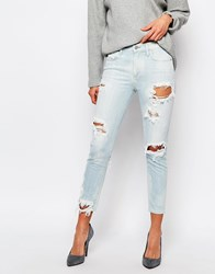 A Gold E Sophie Ankle Grazer Skinny Jean With All Over Distressing Blue