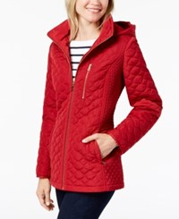 Jones New York Hooded Quilted Puffer Coat Carmine Red