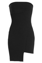 Anthony Vaccarello Asymmetric Hem Ribbed Cocktail Dress Black