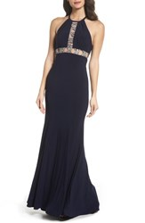 Xscape Evenings 'S Embellished Halter Mermaid Gown Navy Silver