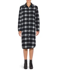 Bb Dakota Long Sleeve Button Front Plaid Shirtdress Black White