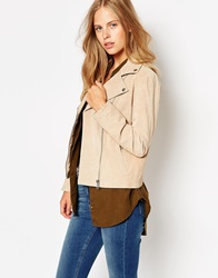 Barney's Originals Ruby Suede Biker Jacket Beige