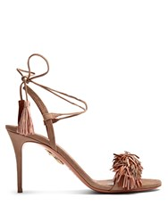Aquazzura Wild Thing Suede Fringed Sandals Nude Multi