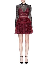 Self Portrait 'Caro' Geometric Lace Overlay Diamond Mesh Dress Red