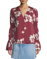 Cupcakes And Cashmere Christa Floral Print Button Down Top Red