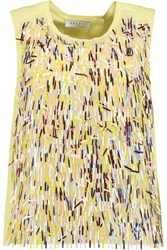 Sandro Empire Embellished Tulle And Twill Top Yellow