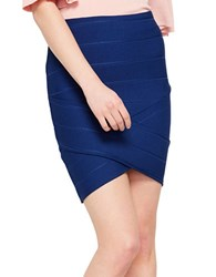 Miss Selfridge Pull On Bandage Skirt Blue