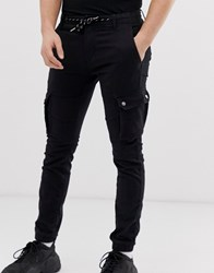 Celio Cargo Trousers With Drawstring Waist In Black