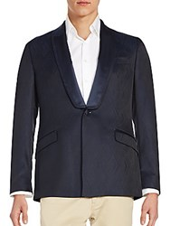 Versace Shawl Collar Textured Dinner Jacket Medium Blue