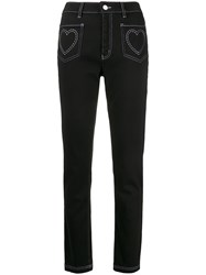 Love Moschino High Rise Heart Embroidered Jeans 60