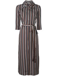 Nina Ricci Striped Ruffle Collar Dress Blue