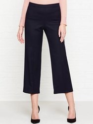 Jigsaw Wool Flannel Cropped Trousers Navy