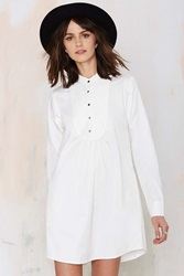 Nasty Gal Night Owl Shirt Dress White