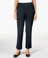 Alfred Dunner Petite Classics Straight Leg Pull On Ponte Pants Navy