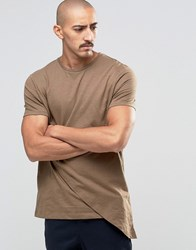 Asos Super Longline T Shirt With Mock Double Layer Coco Brown