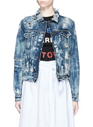 Tortoise Destructed Acid Wash Denim Jacket Blue
