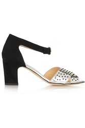 Bionda Castana Maggie Beaded Mirrored Leather And Suede Sandals