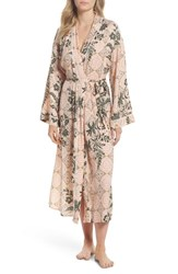 Nordstrom Lingerie Sweet Dreams Satin Robe Coral Clay Tile Floral
