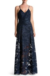 Dress The Population Women's 'Florence' Woven Fit And Flare Gown Navy